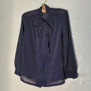 Vintage Pinstriped Pussy-bow Blouse